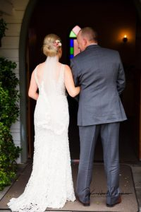 Hannah & Dad - About to walk down the aisle of the Lovedale Wedding Chapel