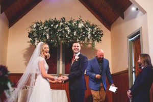 Hannah & Steven wedding ceremony at lovedale chapel with Monty King Celebrations